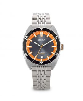 AquaSport, Caliber STP 1-11, Steel Strap, Grey Orange with sunray dial
