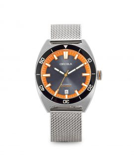 AquaSport, Milanaise Mesh band, Grey Orange with sunray dial