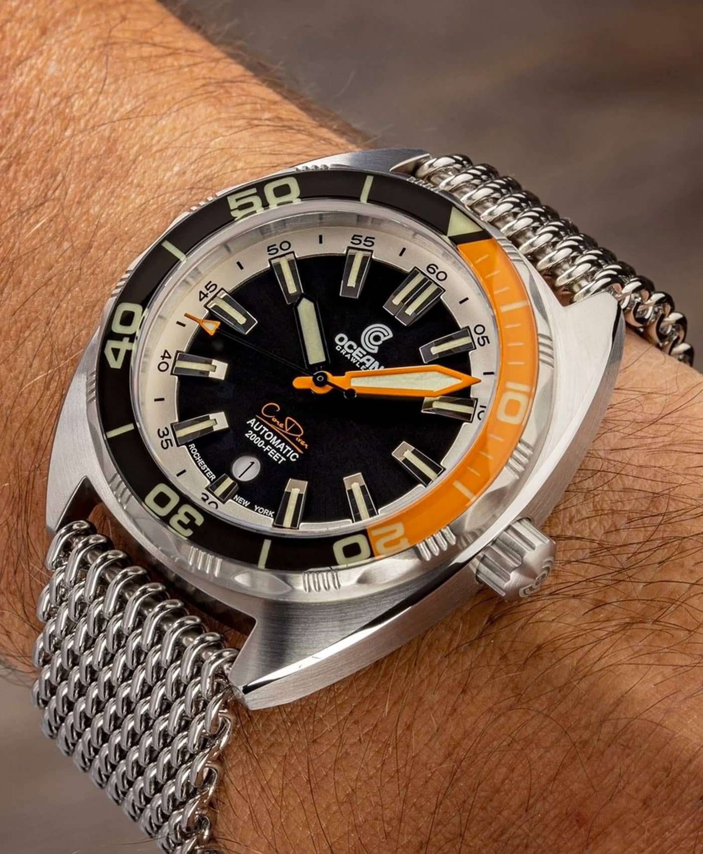 Ocean Crawler Core Diver Black Orange v3 wrist shot