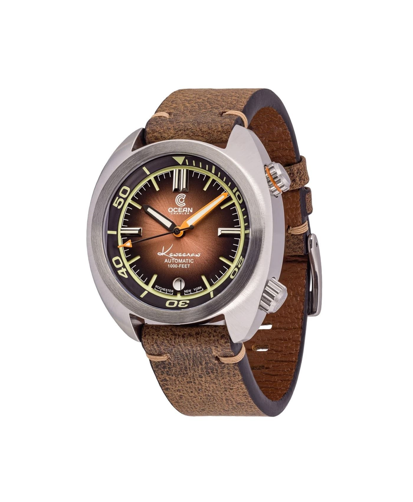 Ocean Crawler Great Lakes Diver Gradient Brown V2 leather strap