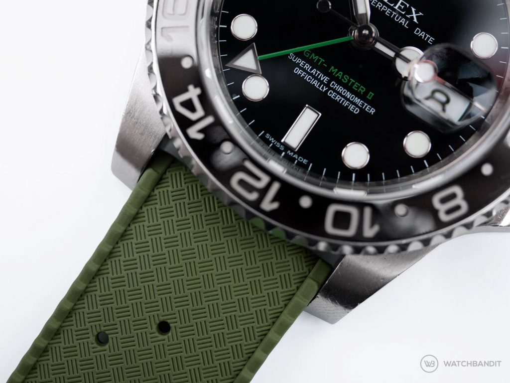 Tropical Rubber watch strap green Rolex GMT Master II close up