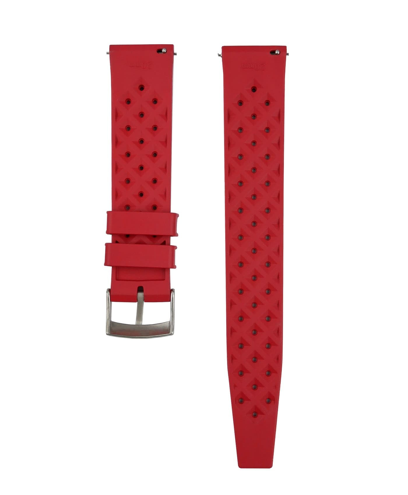 Tropical Rubber watch strap_Red_Back