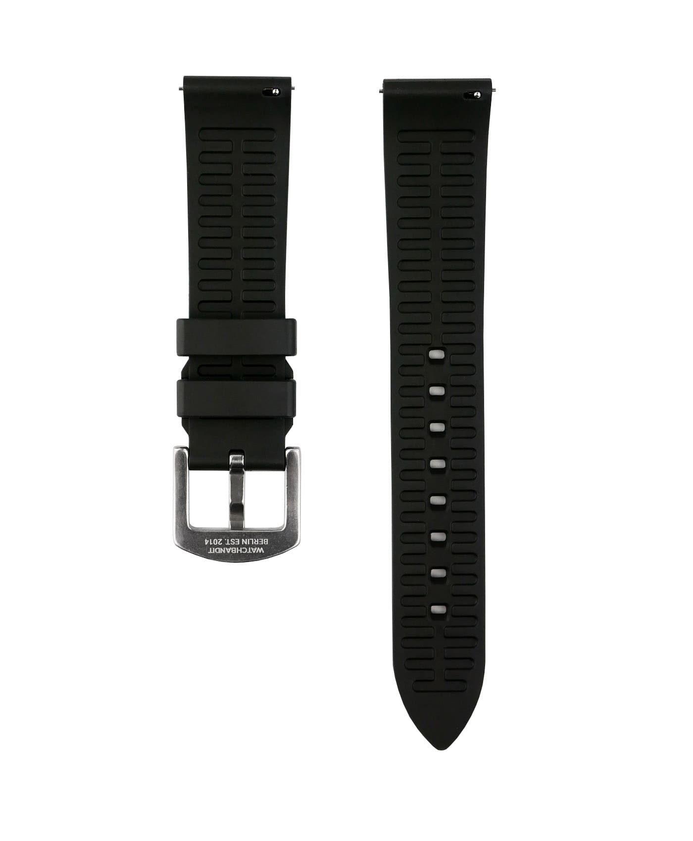 Classic plain Rubber watch strap_Black_back