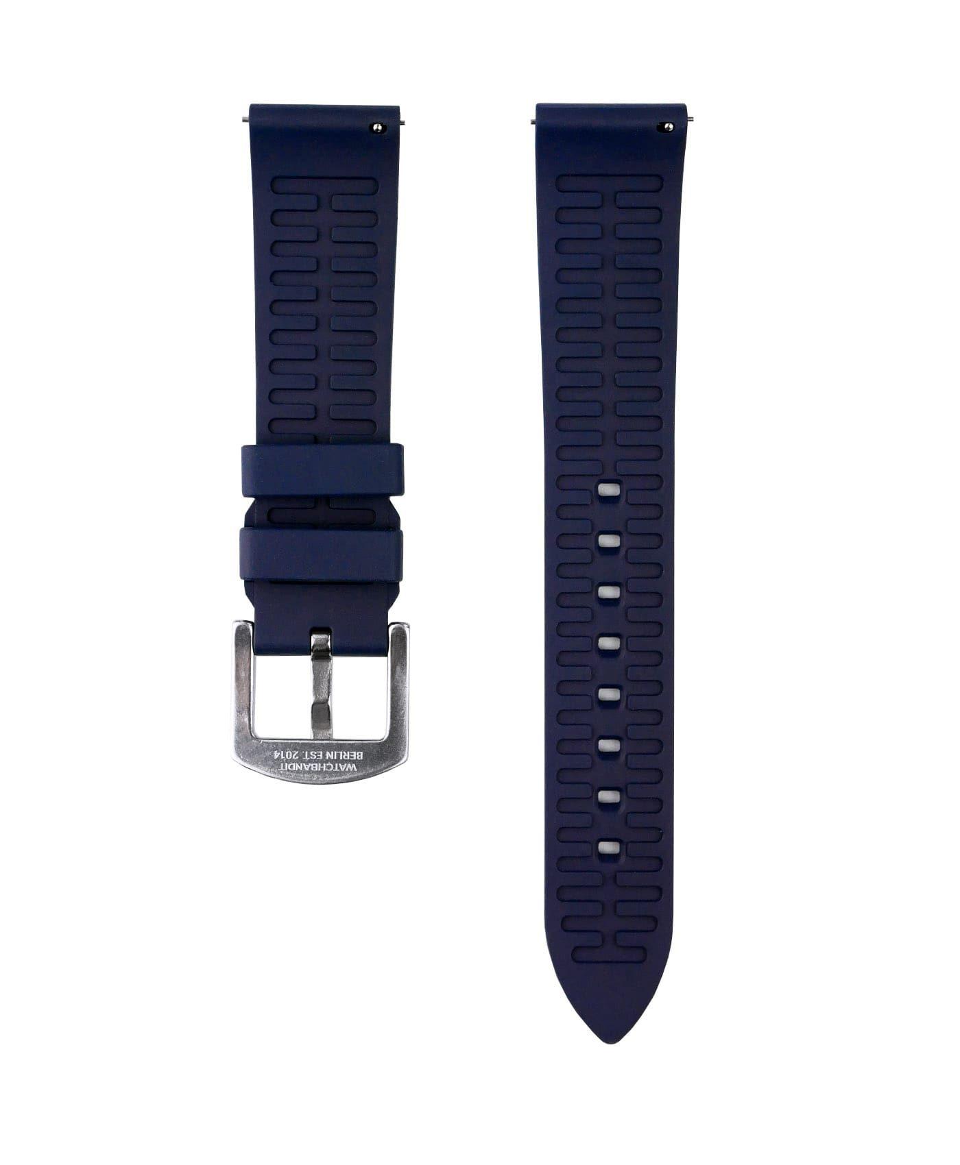 Classic plain Rubber watch strap_Blue_back