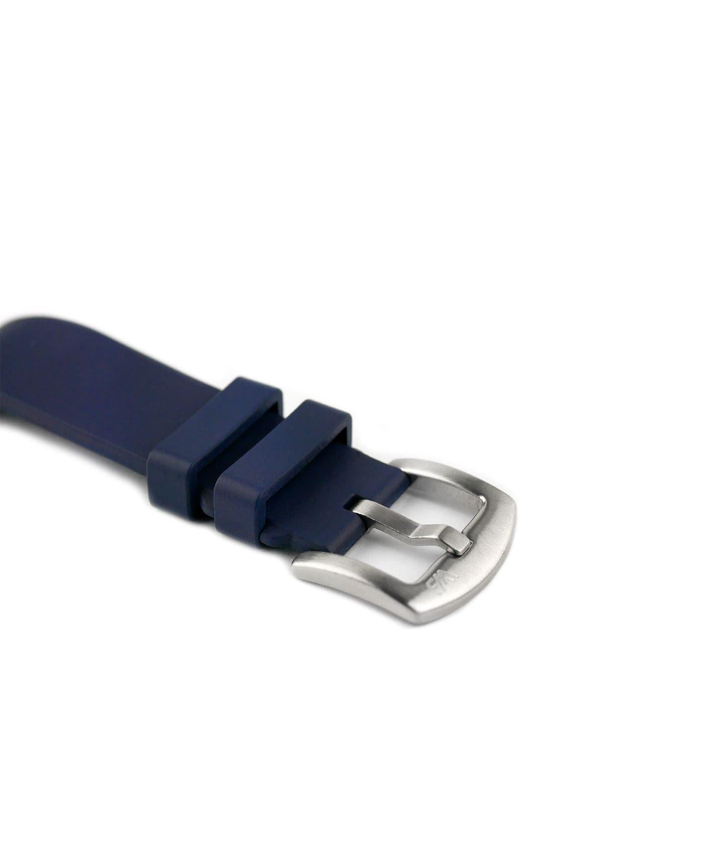 Classic plain Rubber watch strap_Blue_buckle