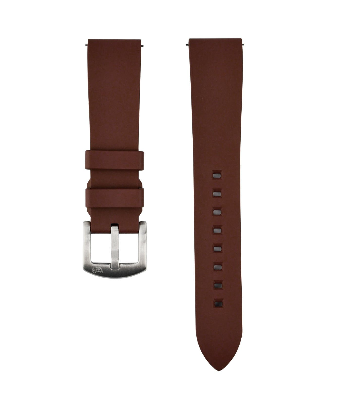 Classic plain Rubber watch strap_Brown_Front