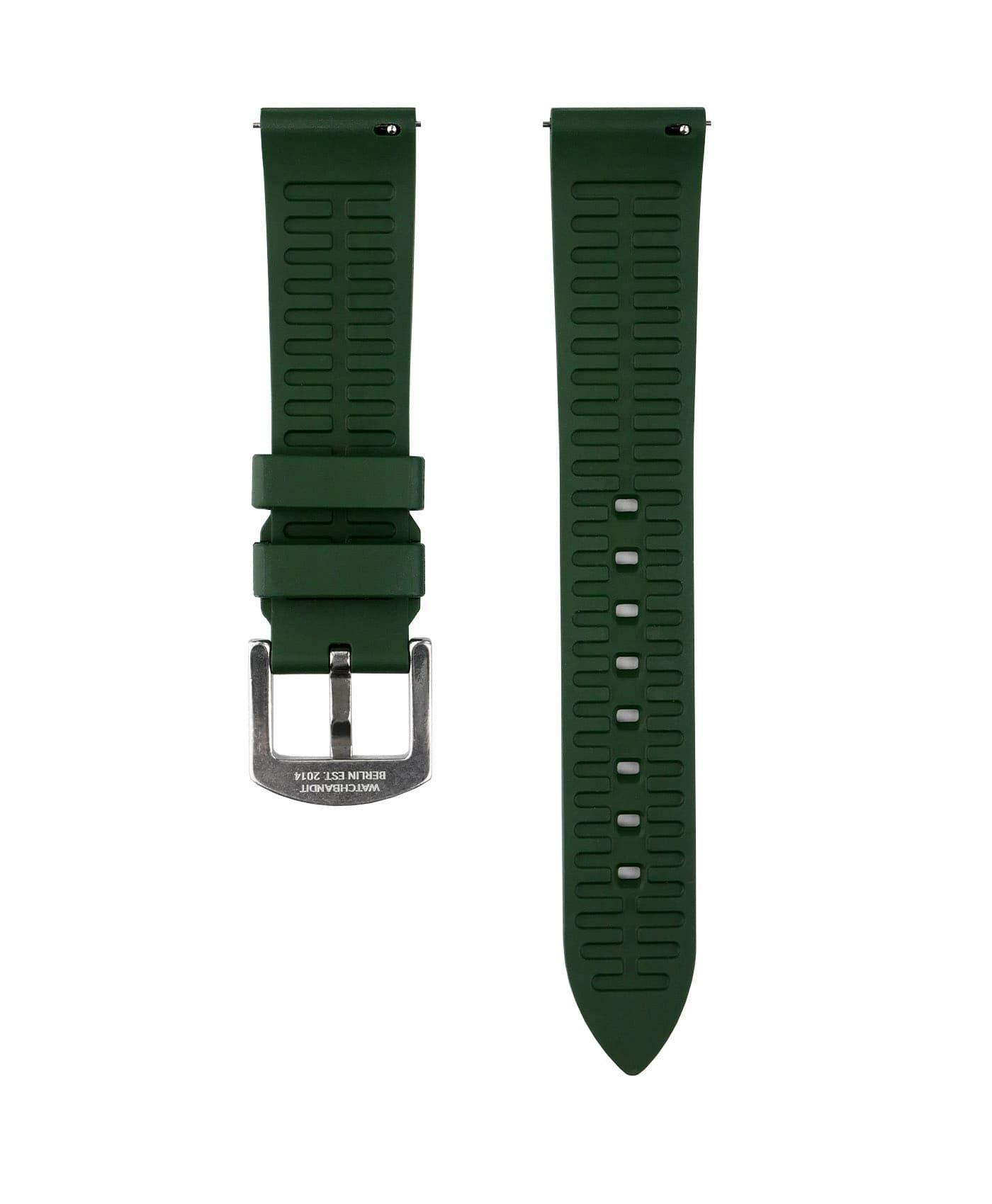 Classic plain Rubber watch strap_Green_back