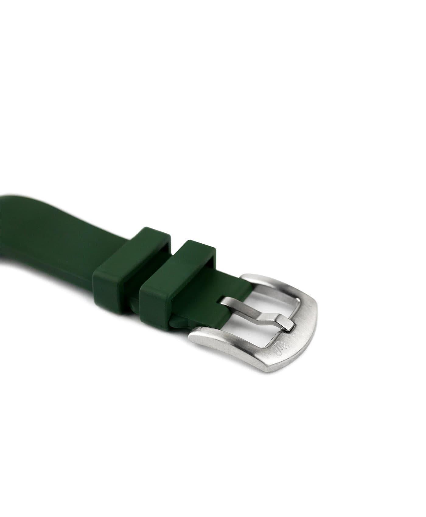 Classic plain Rubber watch strap_Green_buckle