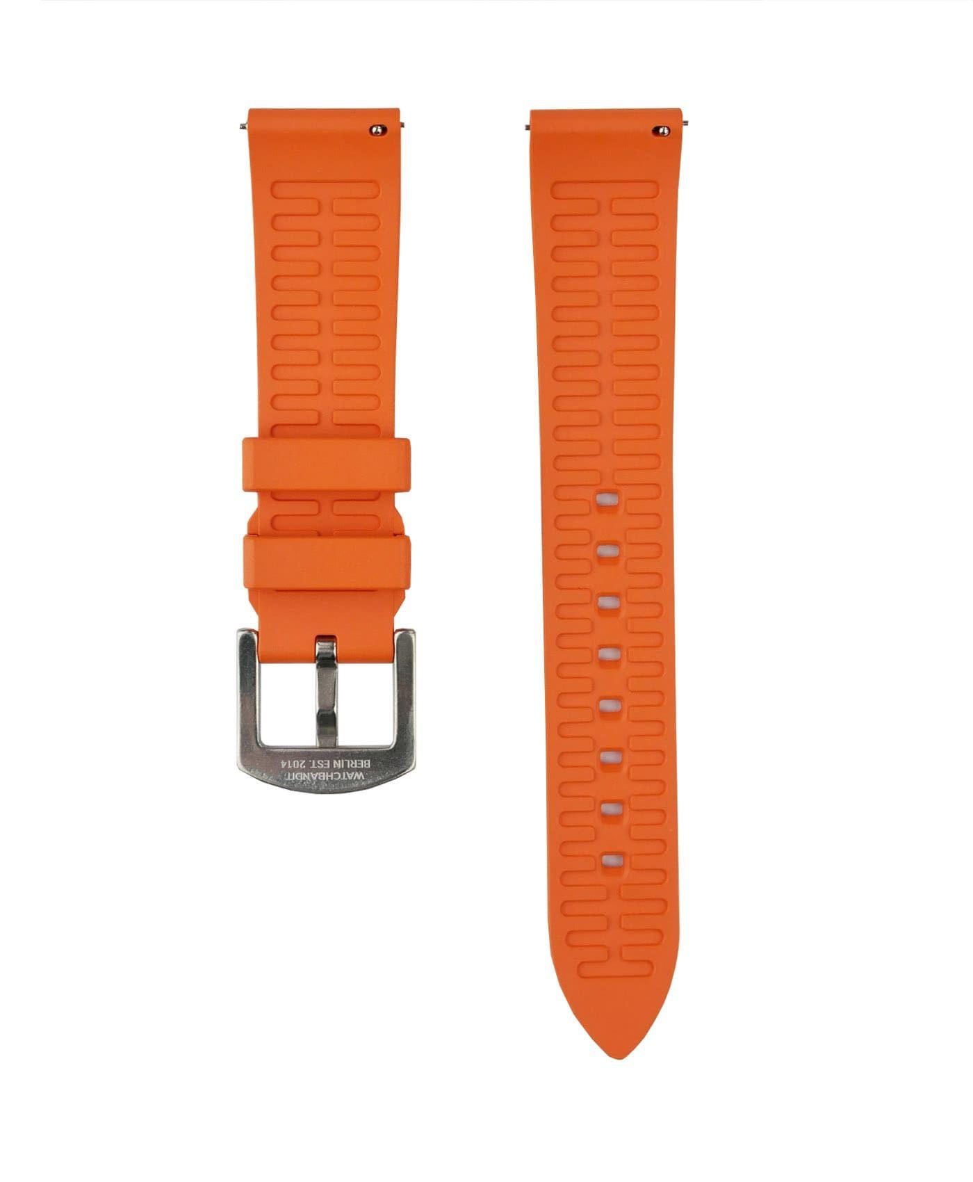 Classic plain Rubber watch strap_Orange_back