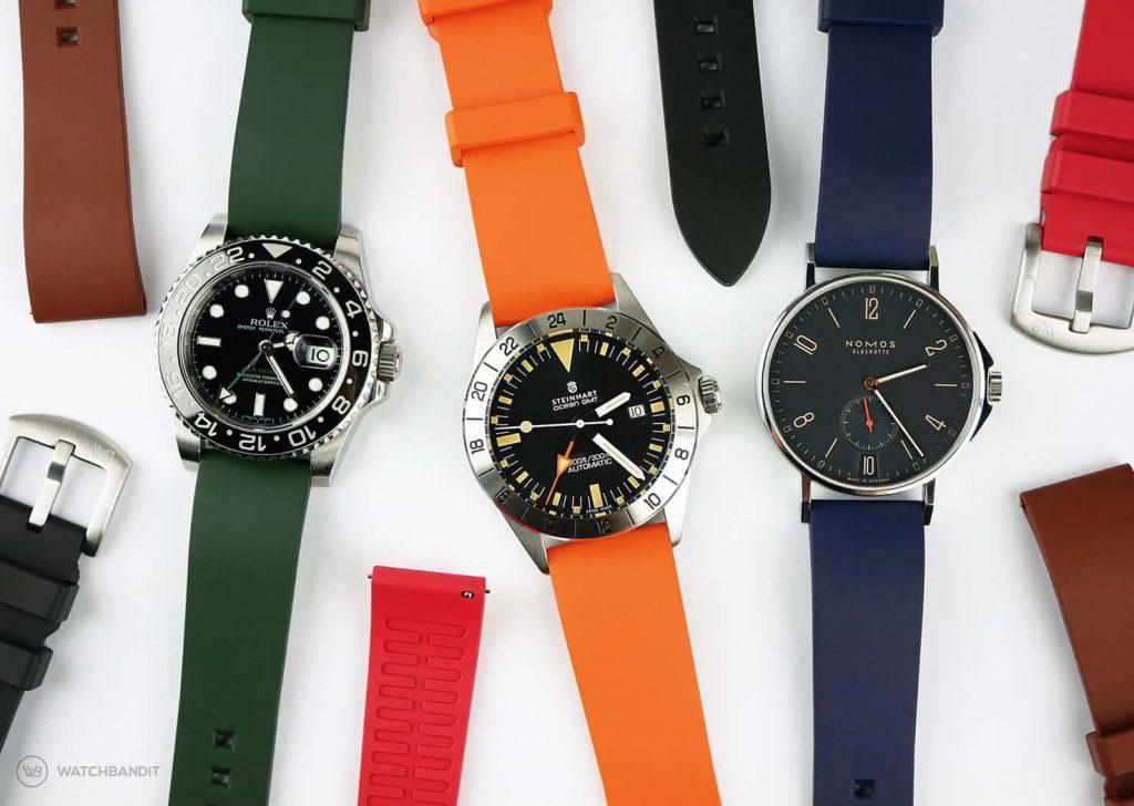 Classic plain Rubber watch straps with Rolex Steinhart and NOMOS_Watchbandit