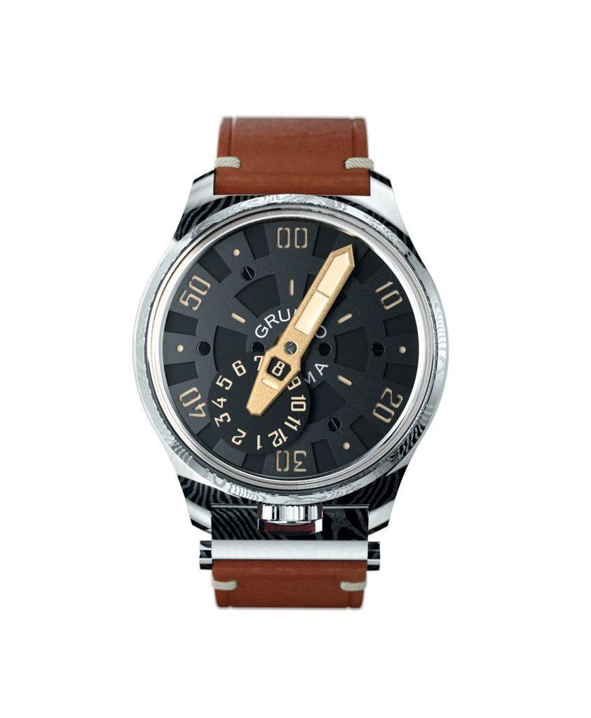 Gruppo Gamma_NEXUS ND-02_front damascus steel watch case