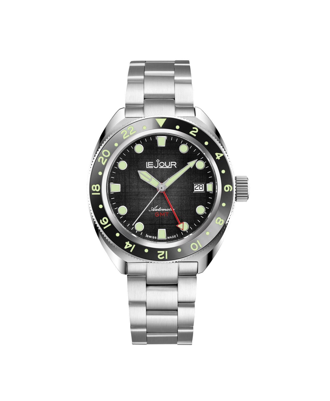 LJ-HH-GMT-001 textured black dial