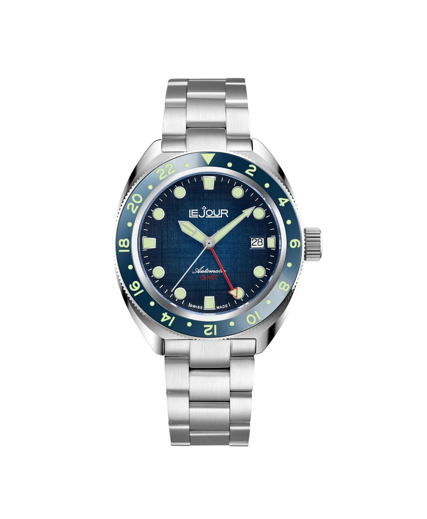 LJ-HH-GMT-002 textured blue dial