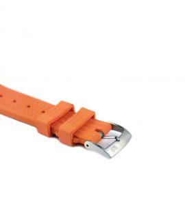 Waffle Rubber watch strap_Orange_Side buckle