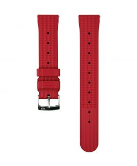Waffle Rubber watch strap_Red_Front