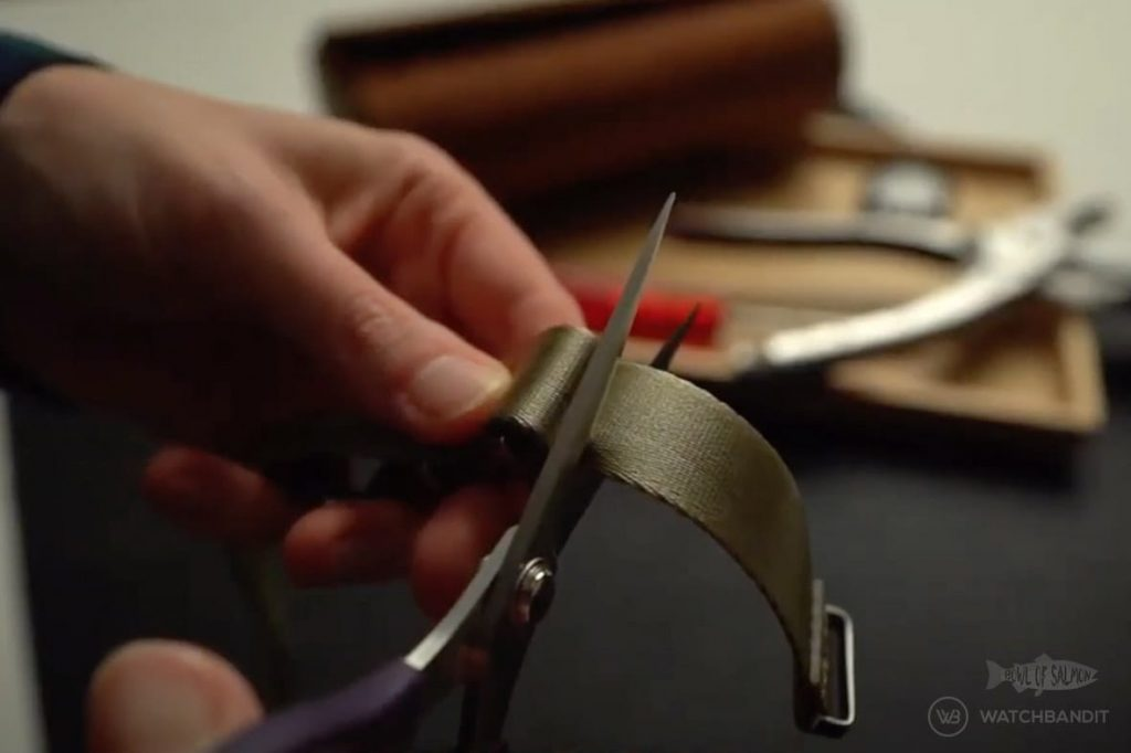 Cut one layer of the NATO strap