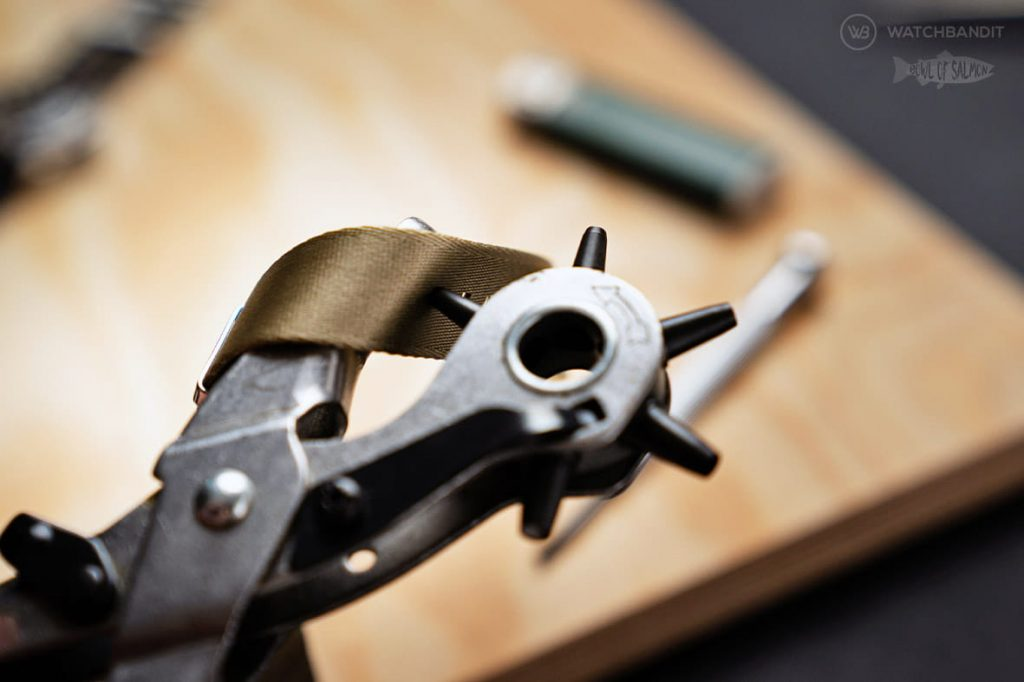 Punching new holes into your NATO strap with Rivet pliers