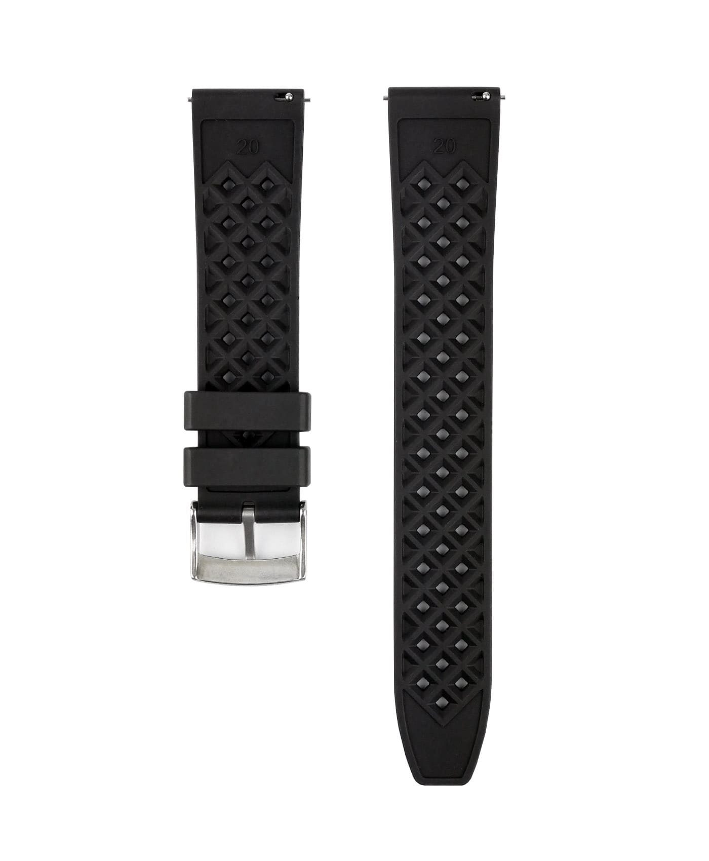 Rhombus FKM Rubber watch strap_Black_Back