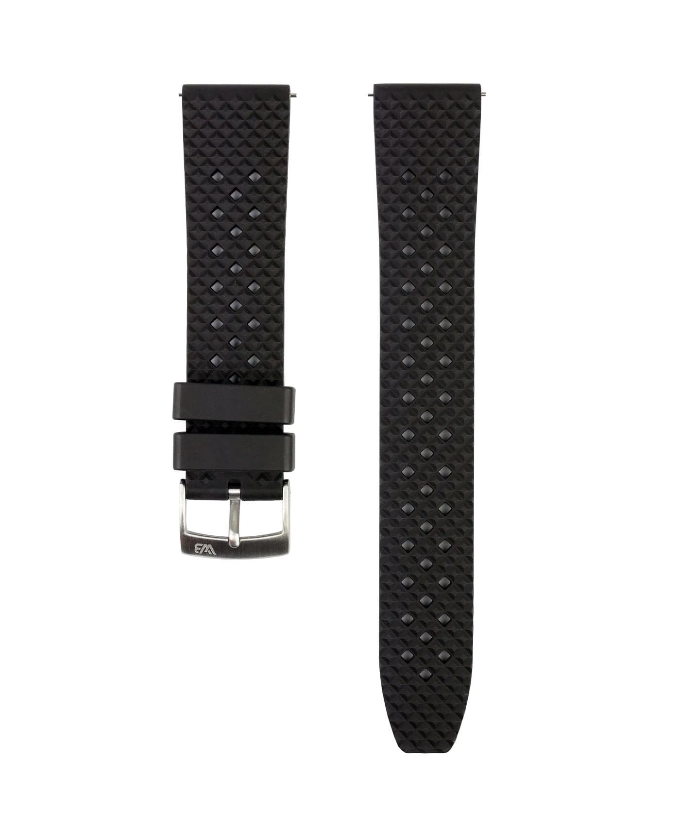 Rhombus FKM Rubber watch strap_Black_Front