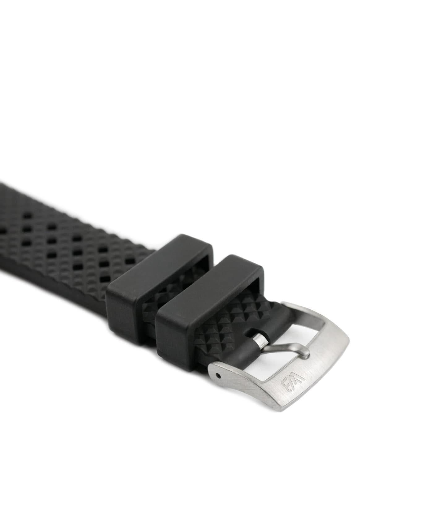 Rhombus Rubber watch strap_Black_Side