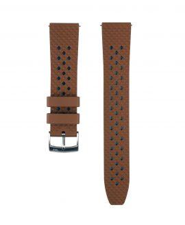 Rhombus FKM Rubber watch strap_Brown_Front