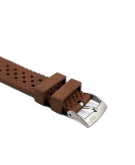Rhombus Rubber watch strap_Brown_Side