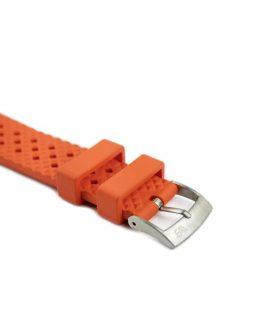 Rhombus Rubber watch strap_Orange_Side