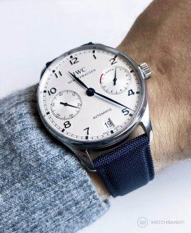 IWC Portugieser 10 days automatic dark blue premium sailcloth strap wrist shot watchbandit
