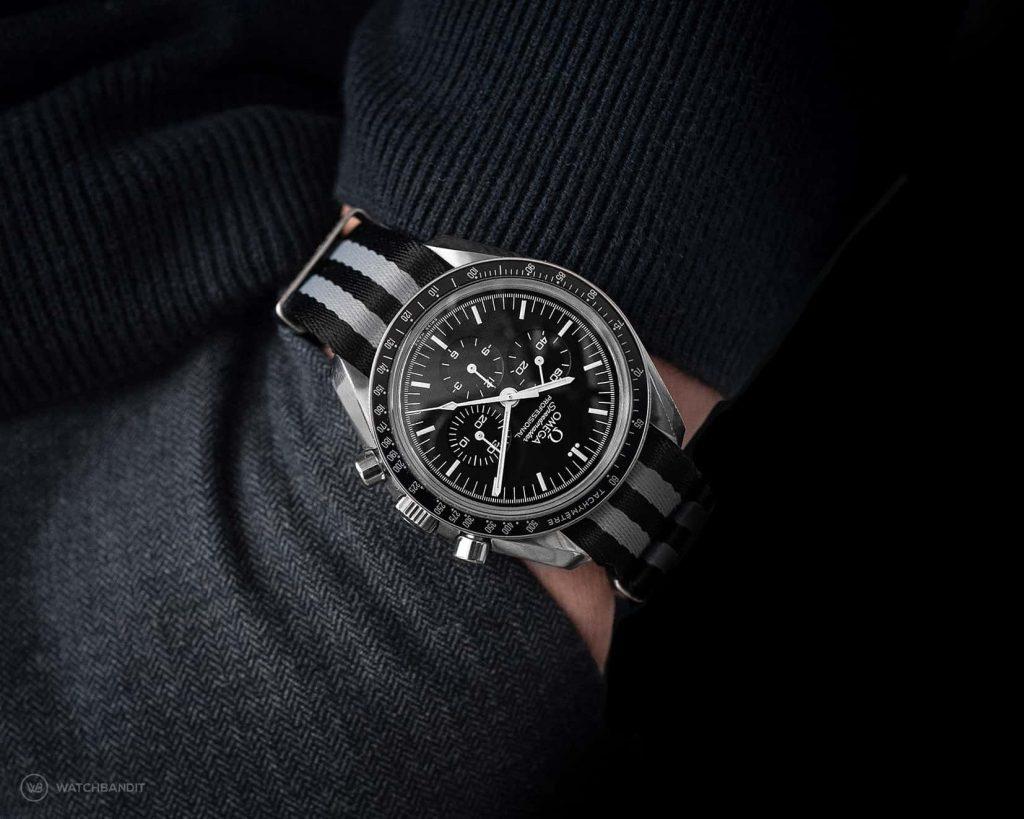 Omega Speedmaster Professional pocketshot Bond NATO strap grey striped