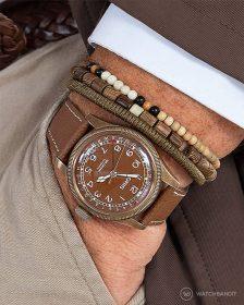 Oris pocket shot tanned textured calfskin leather strap by Watchbandit