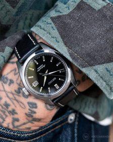 Seiko black sarb033 on textured leather strap pocketshot