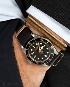 Tudor BB58 Rose Gold Black NATO strap pocket shot