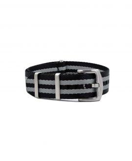 Premium_Nato-straps brushed_black grey striped_bond_front