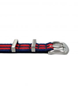 Premium_Nato-straps brushed_red blue striped_buckle