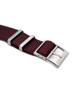Adjustable burgundy-black Nato-straps buckle