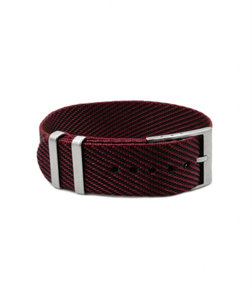 Adjustable burgundy-black Nato-straps front