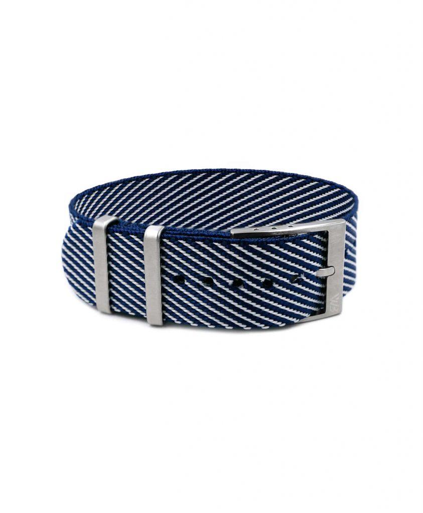 Adjustable dark blue-white Nato-straps front