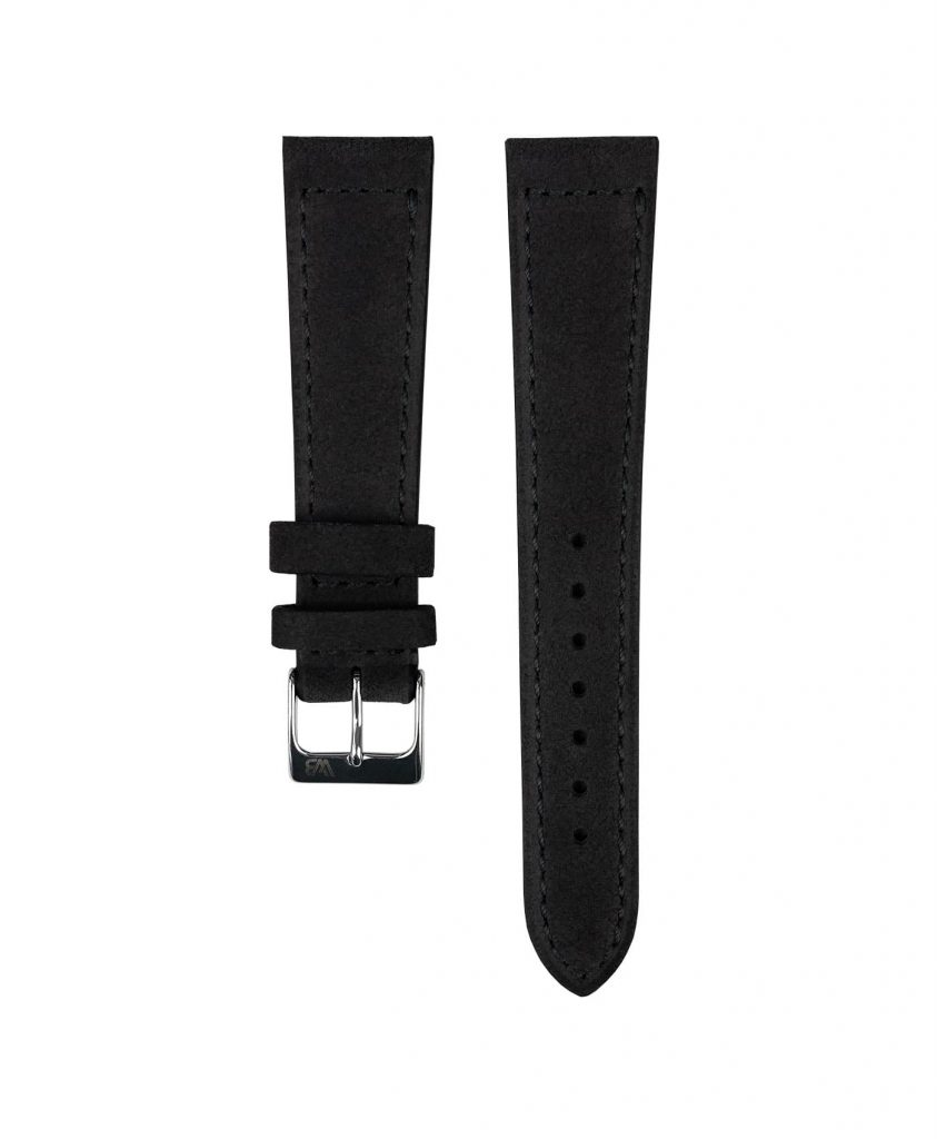 Suede leather strap with side seam_black_front