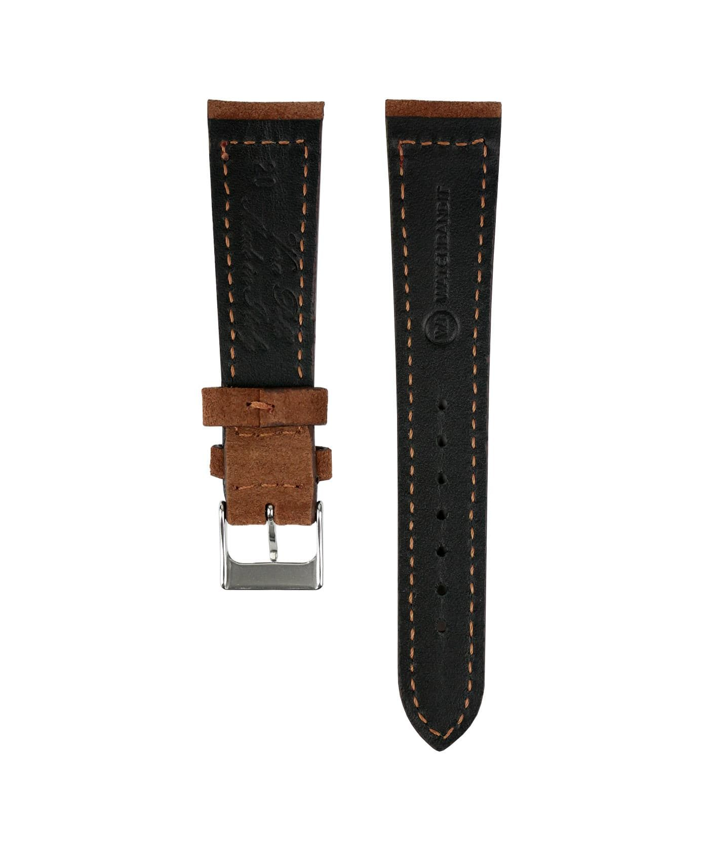 Suede leather strap with side seam_brown_back