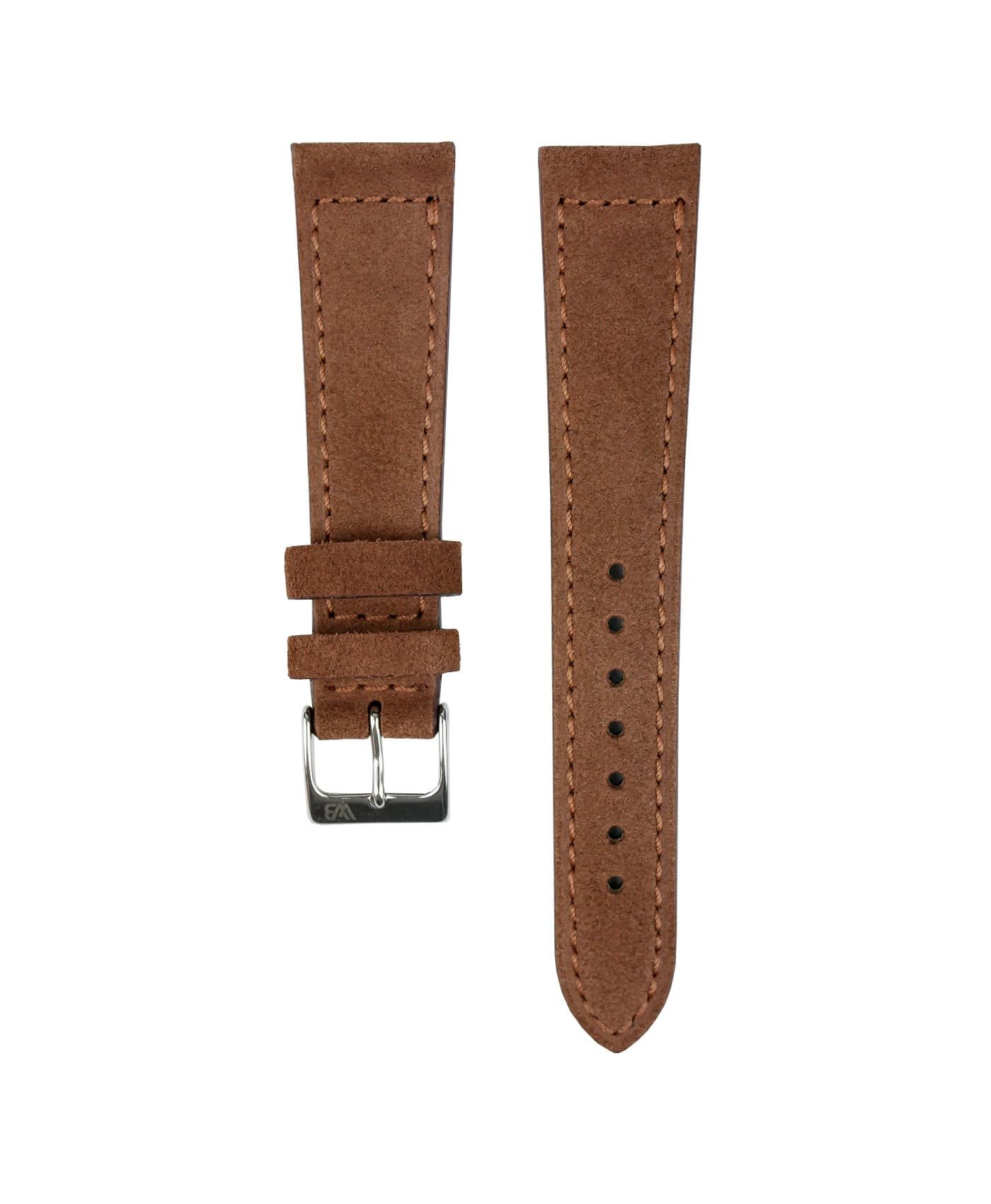 Suede leather strap with side seam_brown_front