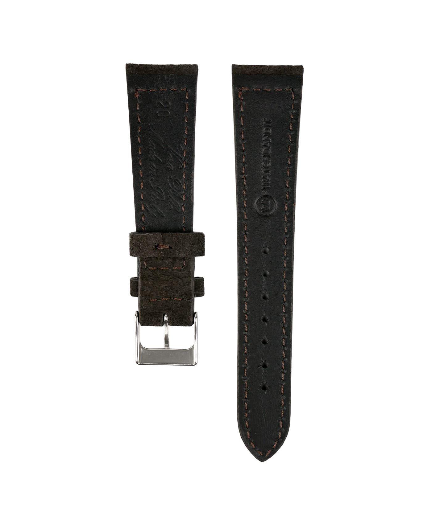Suede leather strap with side seam_dark brown_back