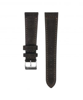 Suede leather strap with side seam_dark brown_front