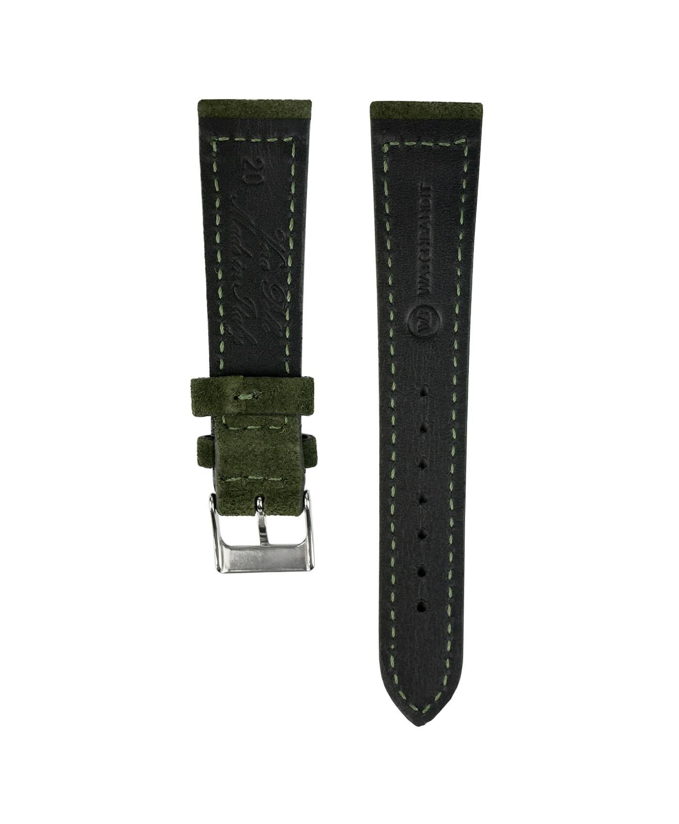 Suede leather strap with side seam_green_back