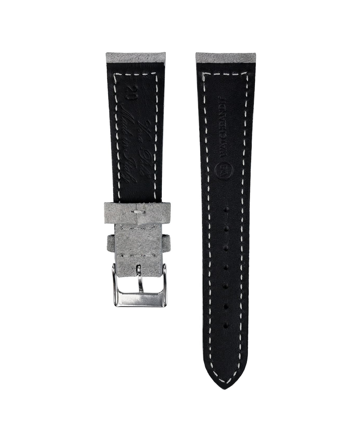 Suede leather strap with side seam_grey_back