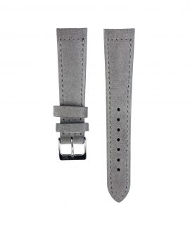Suede leather strap with side seam_grey_front