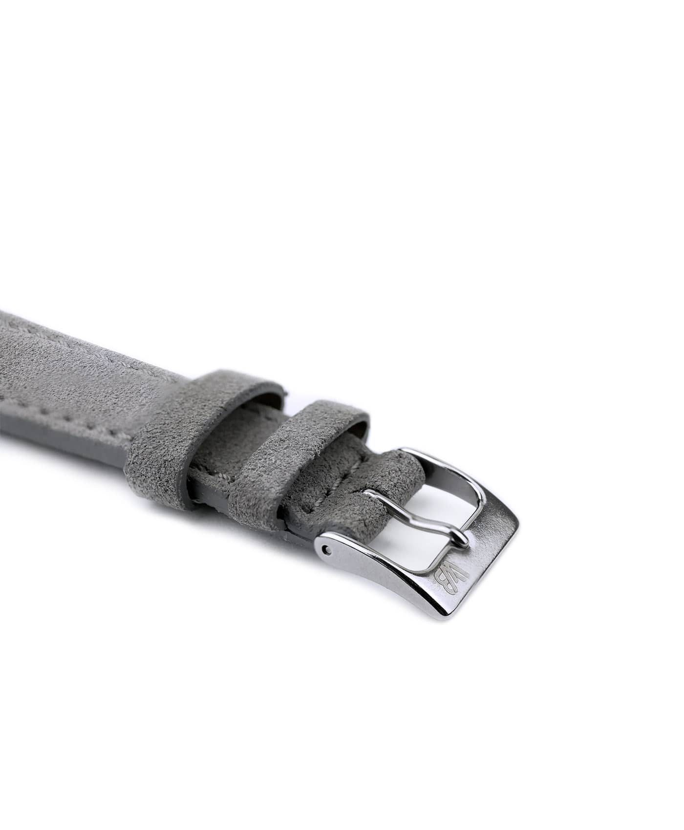 Suede leather strap with side seam_grey_side buckle