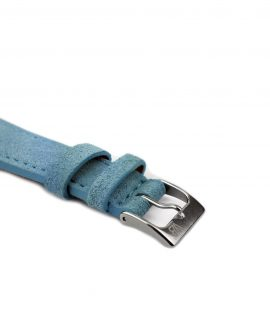 Suede leather strap with side seam_light blue_side buckle