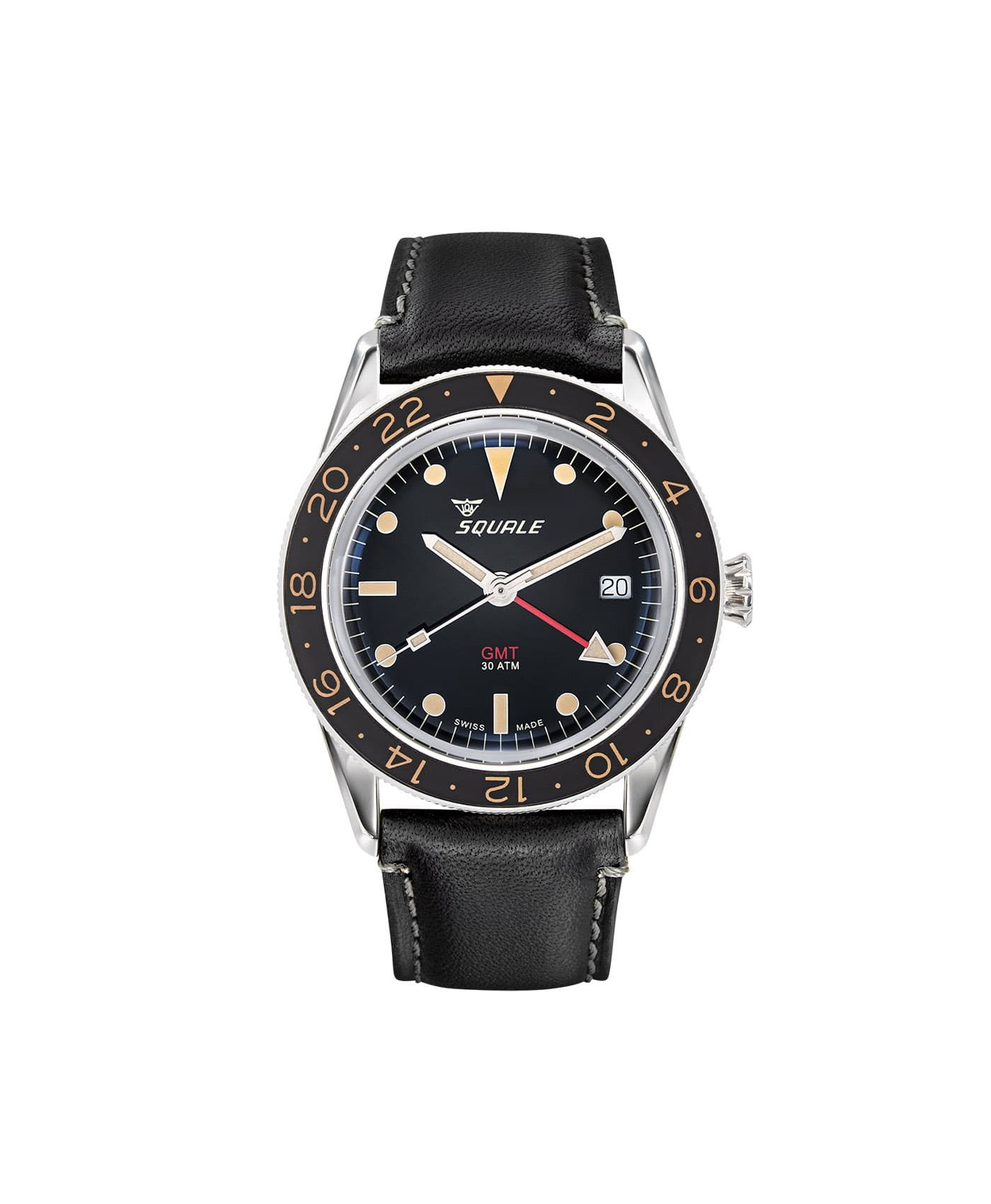 Squale SUB-39 GMT black dial front