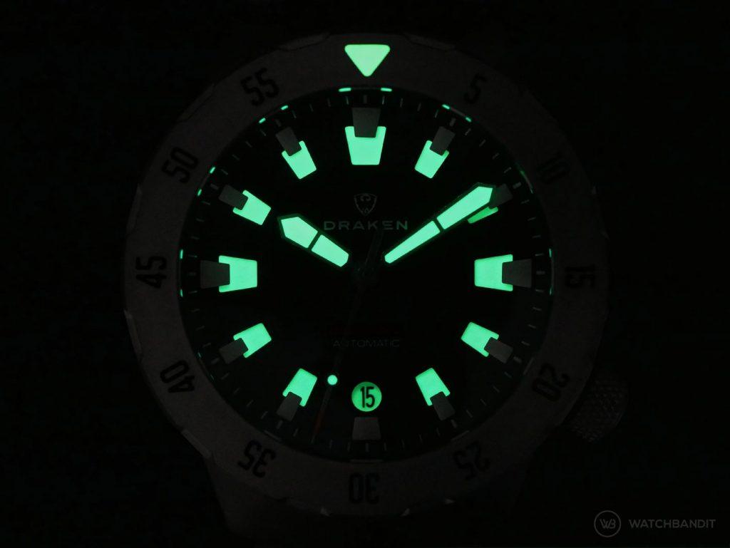 Draken Bengula Watch - lume shot