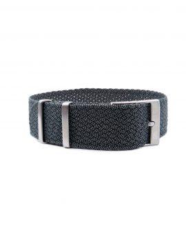 Premium Perlon Watch Strap - Grey Black - Watchbandit